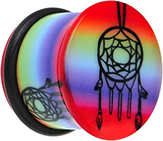 Body Candy Rainbow Acrylic Groovy Dreamcatcher Single Flare Ear Gauge Plug 1/2""