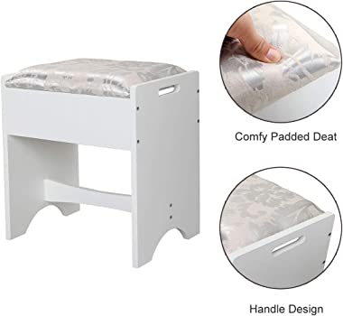 JAXPETY Vanity Dressing Table Set with Cushion Stool, Flip Top Mirror Makeup Table Writing Desk w/2 Drawers 3 Removable Organ
