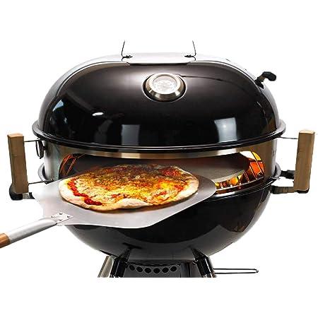 Moesta-BBQ 10081 Smokin' Ring - Set per pizza - Perfetta pizza dal barbecue sferico - con pala per pizza, pietra per pizza, teglia per pizza e termometro, per barbecue con diametro di 47 cm