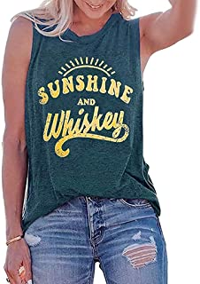 🌸EDC 2019 Summer Sunshine and Whiskey Letters Printed Vest🌸 Chic Camisole Sleeveless T-Shirt Tunic Blouse Tank Tops Tees