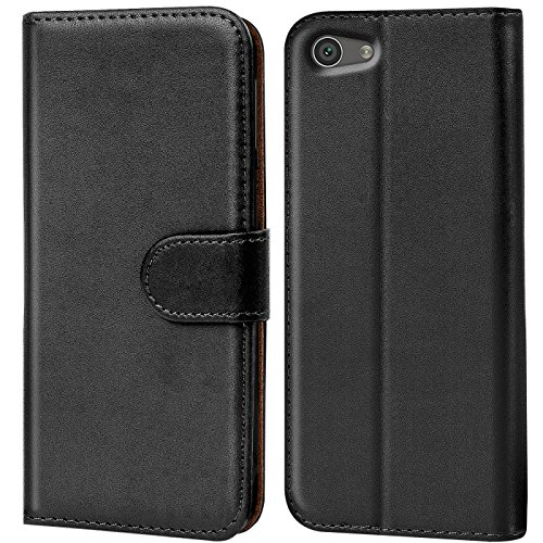Verco Xperia Z5 Compact Hülle, Handyhülle für Sony Xperia Z5 Compact Tasche PU Leder Flip Hülle Brieftasche - Schwarz