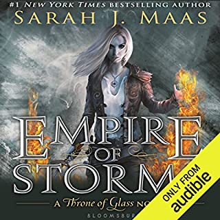 Empire of Storms                   Written by:                                                                                                                                 Sarah J. Maas                               Narrated by:                                                                                                                                 Elizabeth Evans                      Length: 25 hrs and 18 mins     125 ratings     Overall 4.8