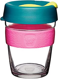 KeepCup 12oz Reusable Coffee Cup. Toughened Glass Cup & Non-Slip Silicone Band. 12-Ounce/Medium, Atom