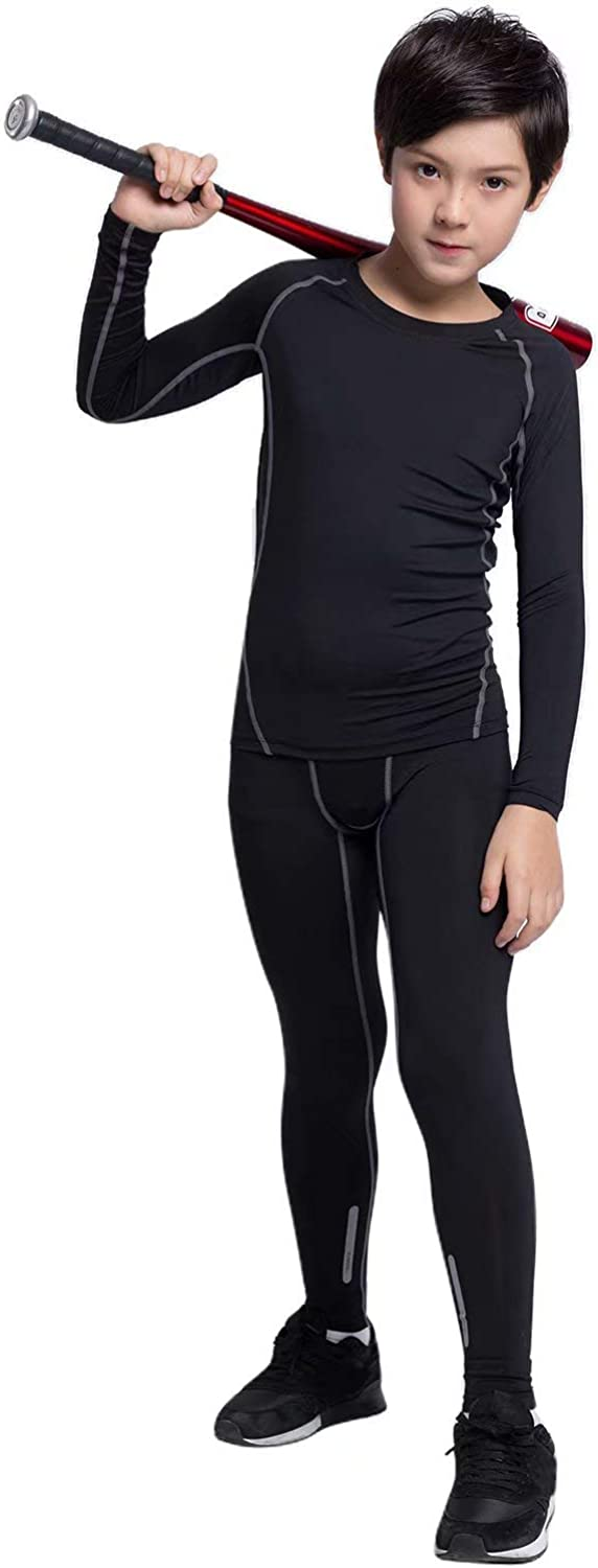 Witkey Boys Thermal Underwear Set, 1/2/3/4 Pcs Athletic Compression Leggings and Shirts Base Layer Long Johns for Boys