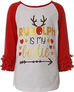 Little Girl Kids Rudolph Bestie Ruffle Sleeve Christmas Raglan Cotton Top Tee T-Shirt Red 5 (Z38X9)