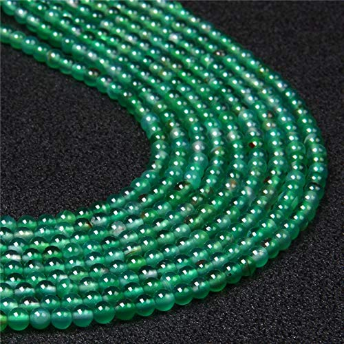 KUQIQI Wholesale Perlas de Piedra Verdes Naturales Redondas Ronda de Piedra de Gema Sueltas DIY Beads para joyería Haciendo Collar de Pulsera Hecho a Mano (Color : Green Agate)