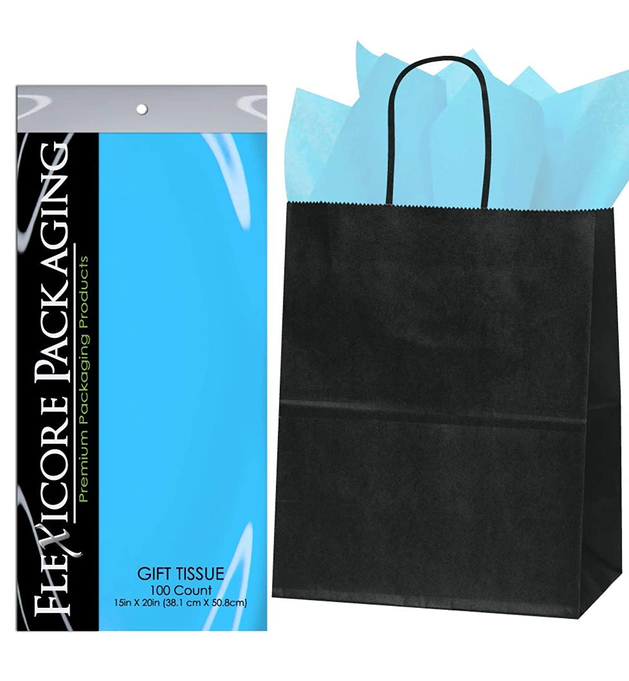 Flexicore Packaging? 50ct Black Kraft Paper Gift Bags + 100ct Gift Tissue Paper (Light Blue)