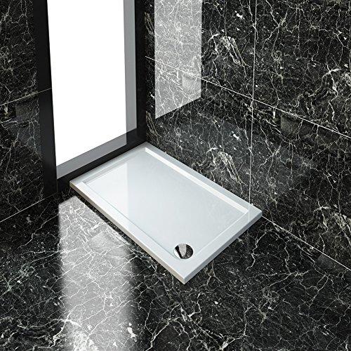 ELEGANT Rectangular 1200 x 700 x 40 mm Stone Shower + Waste Trap Tray for Bathroom Shower Enclosure Wetroom Rectangle Slimline Shower Cubicle Base