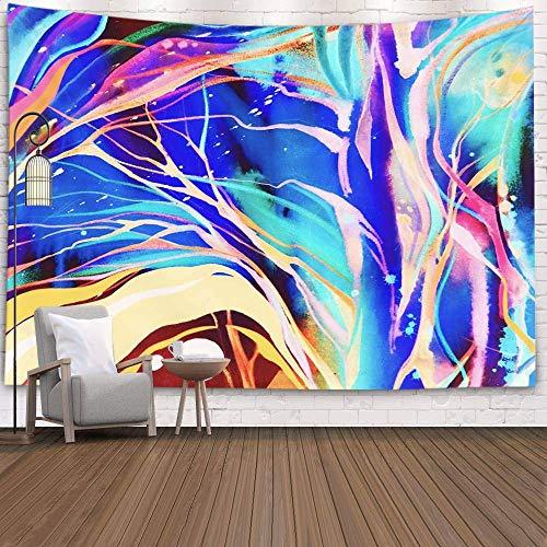 N / A Tapiz, Tapiz Colgante para D & Eacute; Cor Sala de Estar Dormitorio Acuarela Textura Pintura Moderna Paleta Colorida del Arco Iris Arte de vanguardia Que Recuerda a, Rosa Rosa