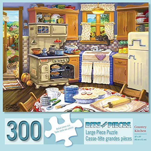 Bits and Pieces - 300 Piece Jigsaw Puzzle for Adults 18 X 24 - Country Kitchen - 300 pc Americana Jigsaws by Artist Suzanne Cruise