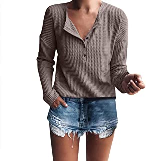 Bsjmlxg Womens Deep V-Neck Henley T-Shirt Ribbed Button Knit Sweater Solid Color Slim Fit Bottoming Tops