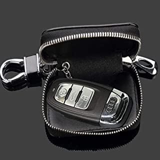 Wall Stickz Black Leather Car Key Case Remote Control Package Auto Key Chains fit Infiniti Accessory