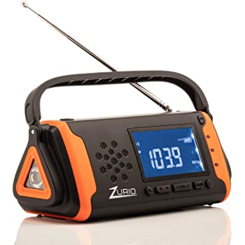 Emergency Radio with NOAA Weather Alert - Hand Crank & Solar Powered Hurricane Radio – AM FM Weather Survival Radio with Battery Backup, Flashlight, Phone Charger, SOS Alarm, Bonus Survival Whistle