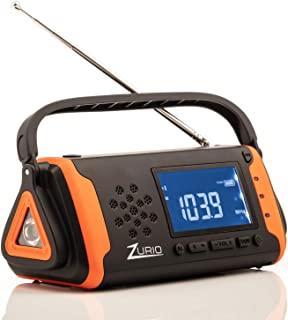 Emergency Radio with NOAA Weather Alert – Hand Crank and Solar Power – AM FM Survival Radio with Flashlight, Cell Phone Charger, and SOS Alarm with Battery Backup