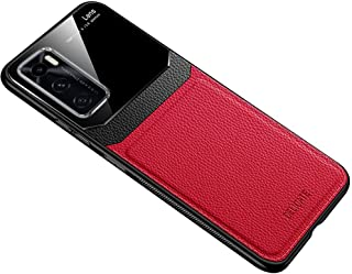For Vivo V20 SE Case Soft Leather Phone Silicone Cover Glass Protection - Red