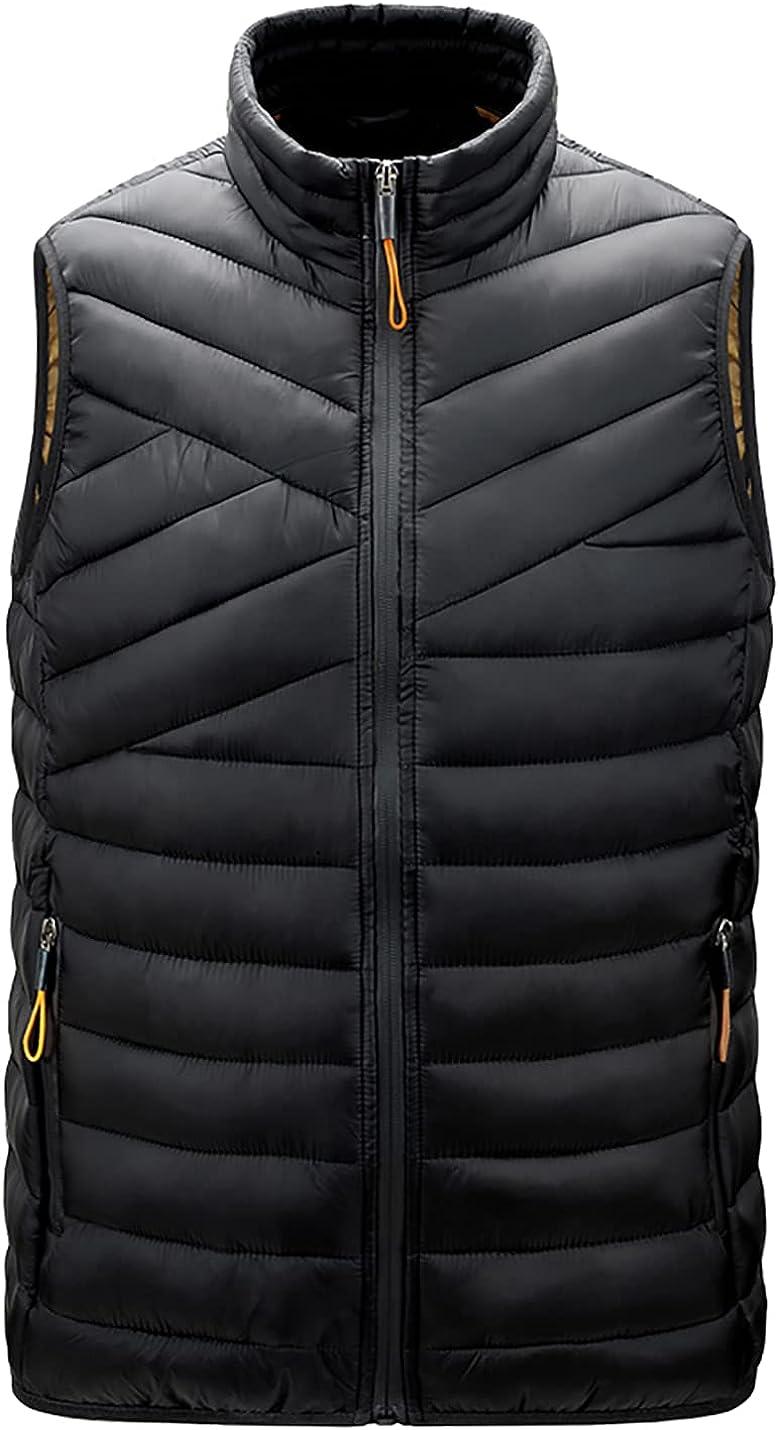 PEHMEA Men's Quilted Padded Puffer Vest Winter Warm Lightweight Sleeveless Insulated Down Jacket