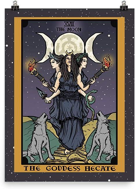 Amazon.com: Póster de la diosa Hecate Tarot con triple luna, diosa de Hekate Triformis – Bruja Pagan Wall Art Home Decor : Hogar y Cocina
