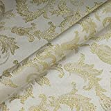 Stoff Polyester Jacquard Ornament ecru gold Lurex