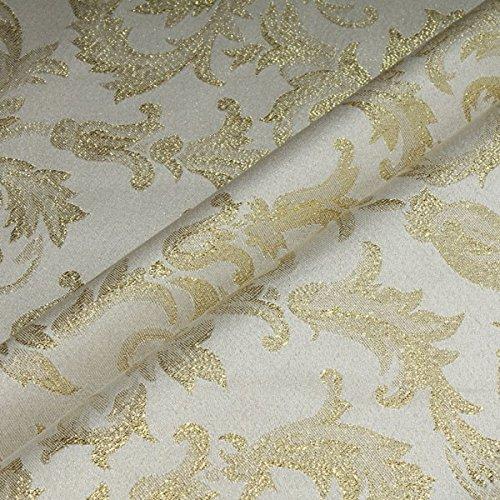 Stoff am Stück Stoff Polyester Jacquard Ornament ecru gold Lurex Goldbrokat Barock Rokoko 280 cm überbreit