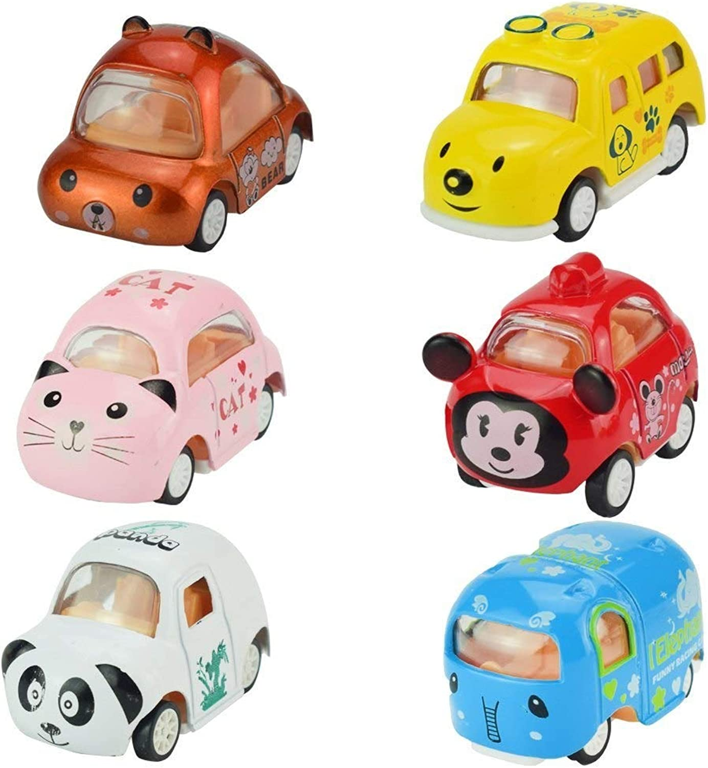 Generic Mini Truck Toys Alloy Diecast 1 64 Carton Animal Pull Back Vehicles 6 PCS Assorted Cars Play Set for Kids Gifts