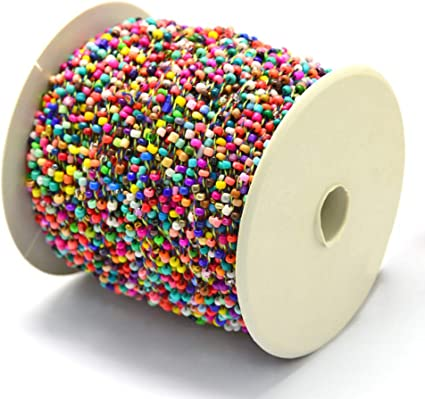 Pandahall 100yards Colorful Opaque Seed Bead Garland Rope by Roll for Wedding Party Home Beads Tree Beaded Curtain Decorations