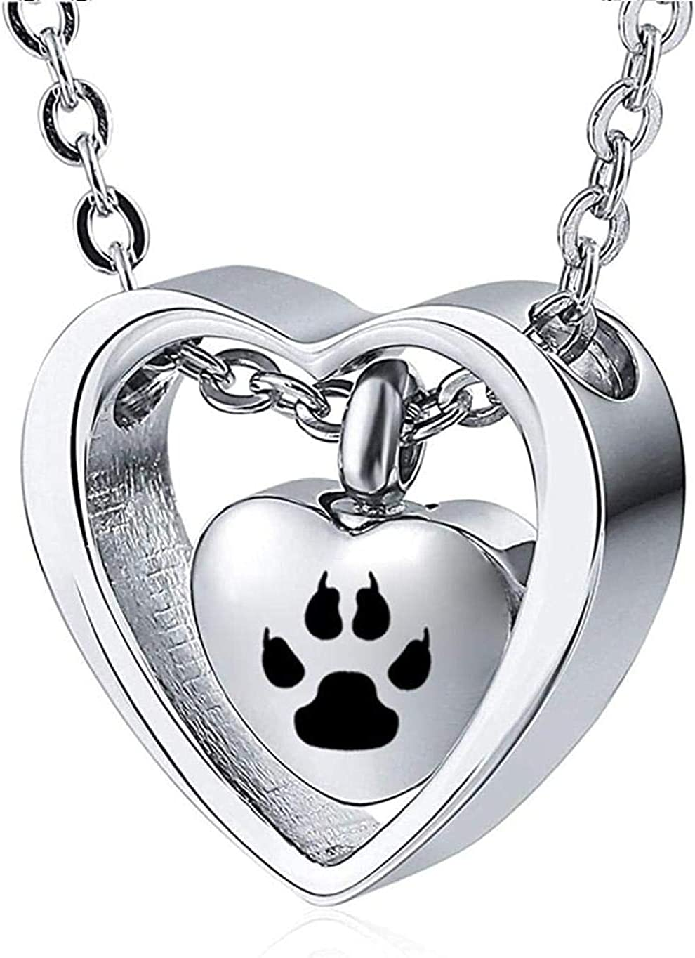 AEGW Cremation Urn Necklace Memorial Jewelry Urn Necklace Grey Stainless Steel Urn Necklace Cremation Jewelry Pendant Female Style-Black Paw