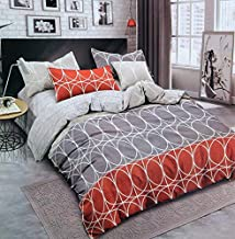 Reliable Trends Glace Cotton Queen Size Quilt Cover/Dohar 90x100 inches (Orange Floral)