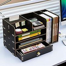 LiChaoWen Bibliothèque de Bureau Bureau Boîte de Rangement en Bois Tiroir Livre étagères Supports de fichiers for Bureau D...