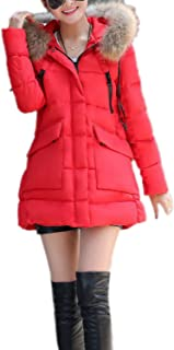 0a6ebd80b8 Eozy Doudoune Femme Hiver avec Fourrure Manteau Chaud Manteau à Capuche  Épais Mi-Longue