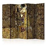 PARAWENTO B&D XXL murando Paravento Klimt 225x172 cm Stampa unilaterale su Tela in TNT Parete Divisoria Interno Separatore Stanza Pieghevole Decorazioni Bacio l-A-0001-z-c