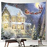 Escena de nieve navideña tapiz decoración año nuevo tela arte colgante pintura pared colgante hogar pared manta revestimiento de pared A14 130x150cm