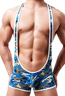 Men's Sexy Bodysuit Boxer Wrestling Singlet Camo Breathable Sports Underwear