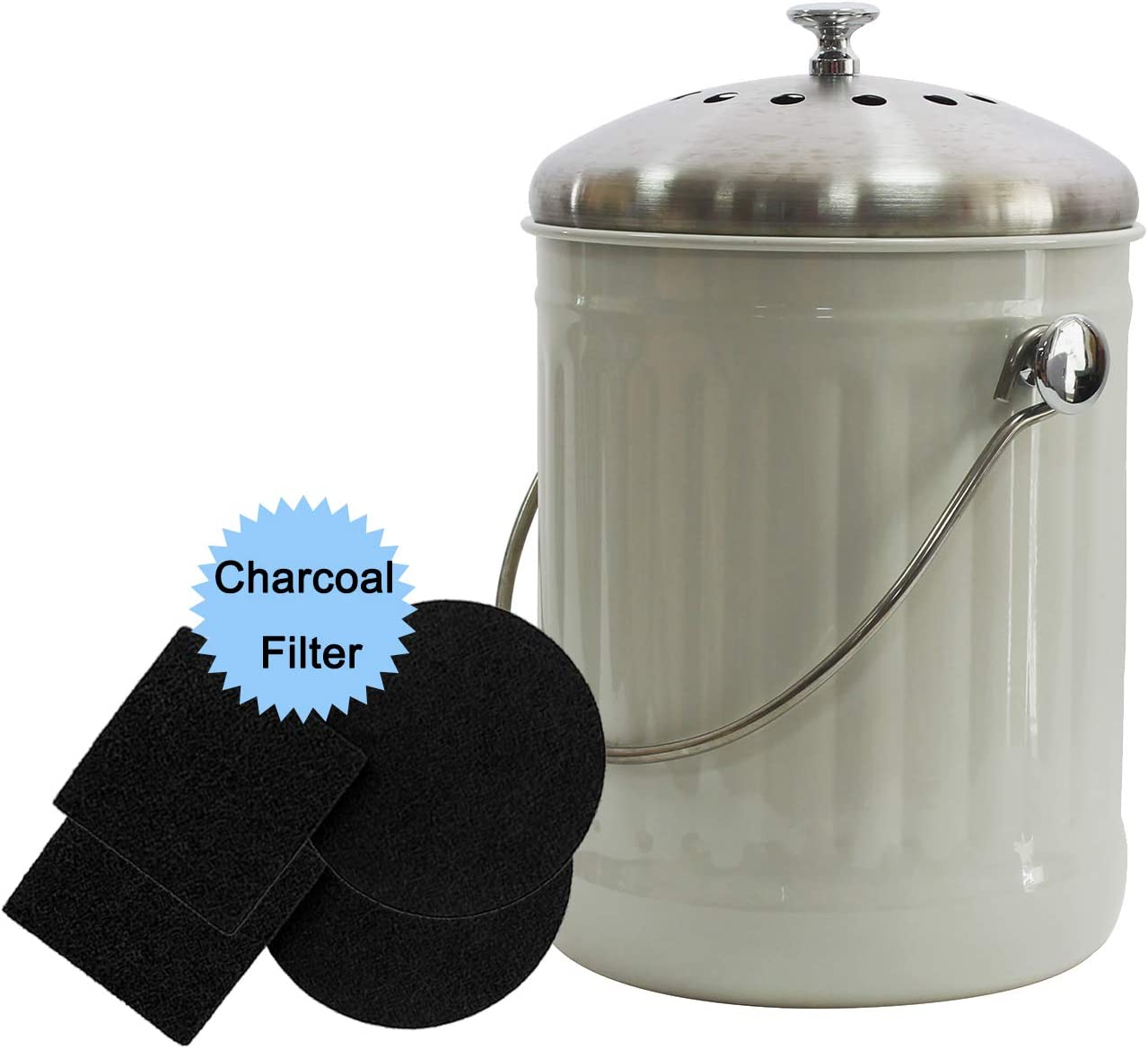 4W Kitchen Compost Bin with 4 Charcoal Filters - 1.3 Gallon Indoor Compost Bin for Kitchen Counter for Food Waste Odor Free (White)