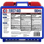 Be Smart Get Prepared 10HBC01082 100Piece First Aid Kit, Clean, Treat & Protect Most Injuries With The Kit that is great… 10 Manufactured by the #1 leading manufacturer of First Aid Kits in the USA. 100 pieces of comprehensive first aid treatment products. This Kit meets United States FDA Regulatory Standards as a Medical Device. Ideal for most businesses and perfect for family use at home or travel. Fully organized interior compartments provides quick access. The rugged, sturdy, high density plastic case is impact resistant