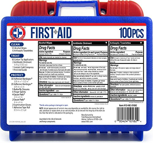 Be Smart Get Prepared 100 Piece First Aid Kit: Clean, Treat, Protect Minor Cuts, Scrapes. Home, Office, Car, School… 4