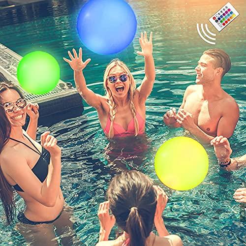 Pack de 5 Pelotas de Playa LED Inflables, con Control Remoto para Cambiar 13 Colores. para Acampar, Juguetes para la Piscina, Decoración de Fiestas y Actividades al Aire Libre