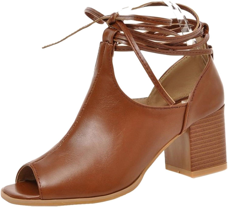 TAOFFEN Women's Lace Up Sandals shoes Heels