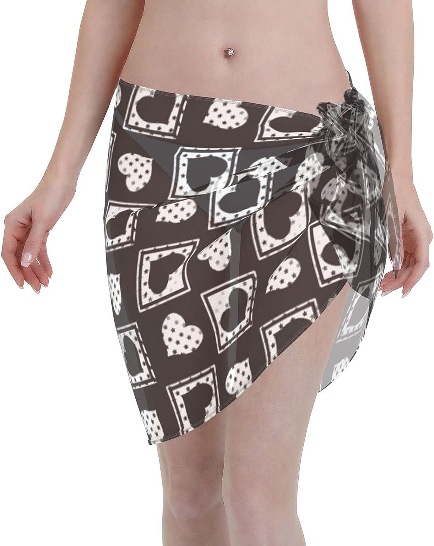 KUOAICY Watercolor Star Whales Women Short Sarongs Beach Wrap Fashion Swimwear Bikini Cover Ups Multi Purpose Wrap Skirt