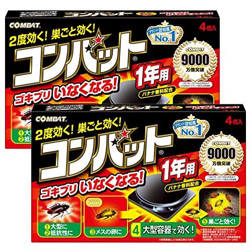 【まとめ買い】KINCHO コンバット ゴキブリ殺虫剤 大型容器 1年用 4個入 ×2個