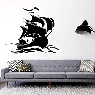 GUDOJK Wall Sticker Artistic Design Home Decoration Vinyl sail Boat Wall Sticker Removable PVC House Decoration Boat Decal in Store or Bedroom