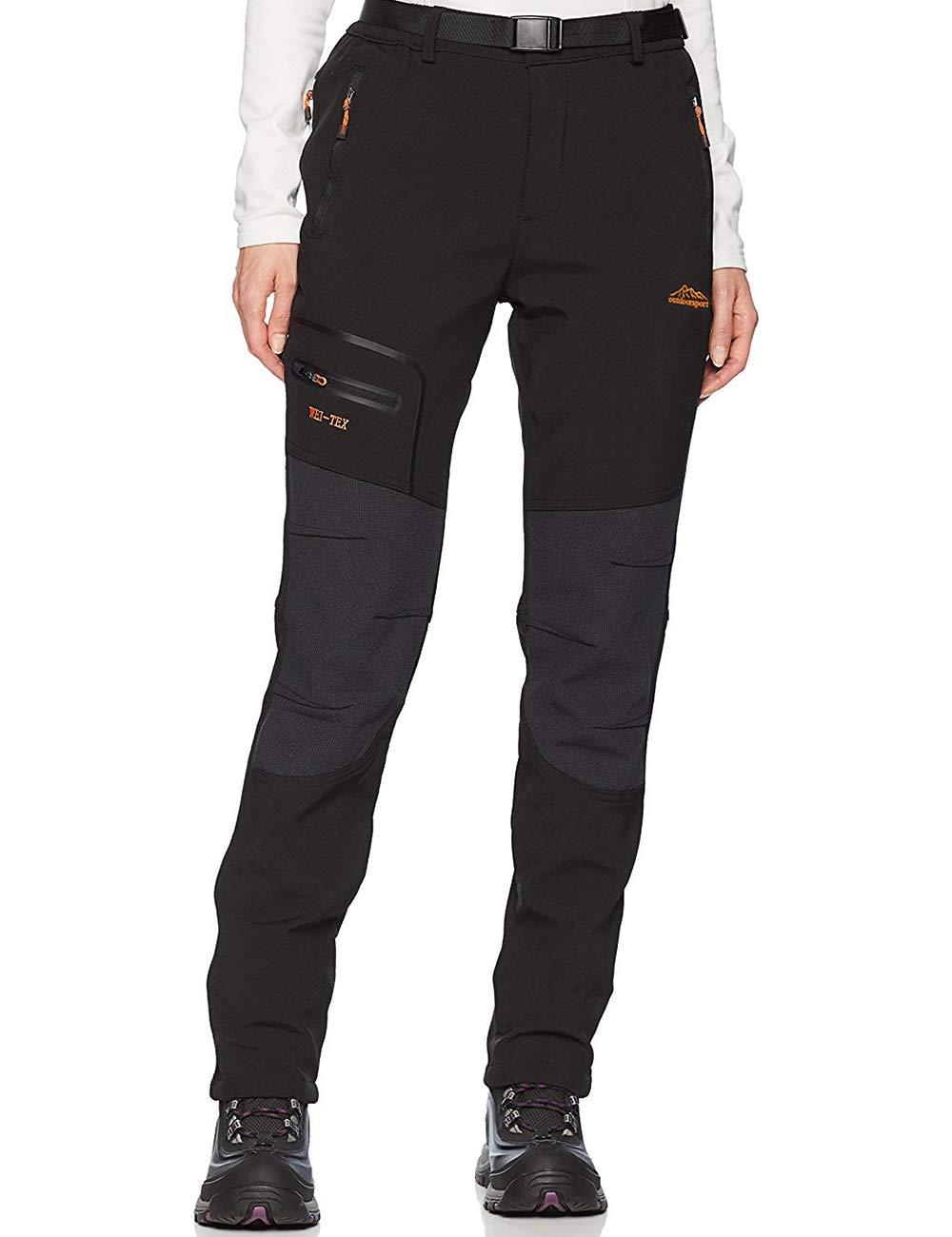 Femme Pantalon Softshell Imperméable Pantalon Randonnée Thermique Étanche Coupe-Vent Hiver Automne Pantalon de Montagne Escalade Ski