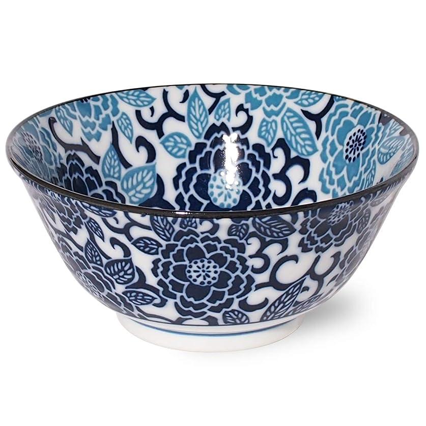 毒つまずく付けるみのる陶器(Minorutouki) 丼 紺青 冬牡丹 直径14.9cm 多用丼