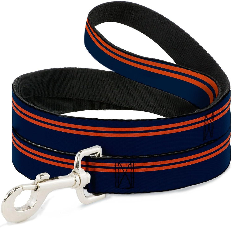 BuckleDown DLW31838W Wide 1.5  Racing Stripe Navy orange Dog Leash, 4'