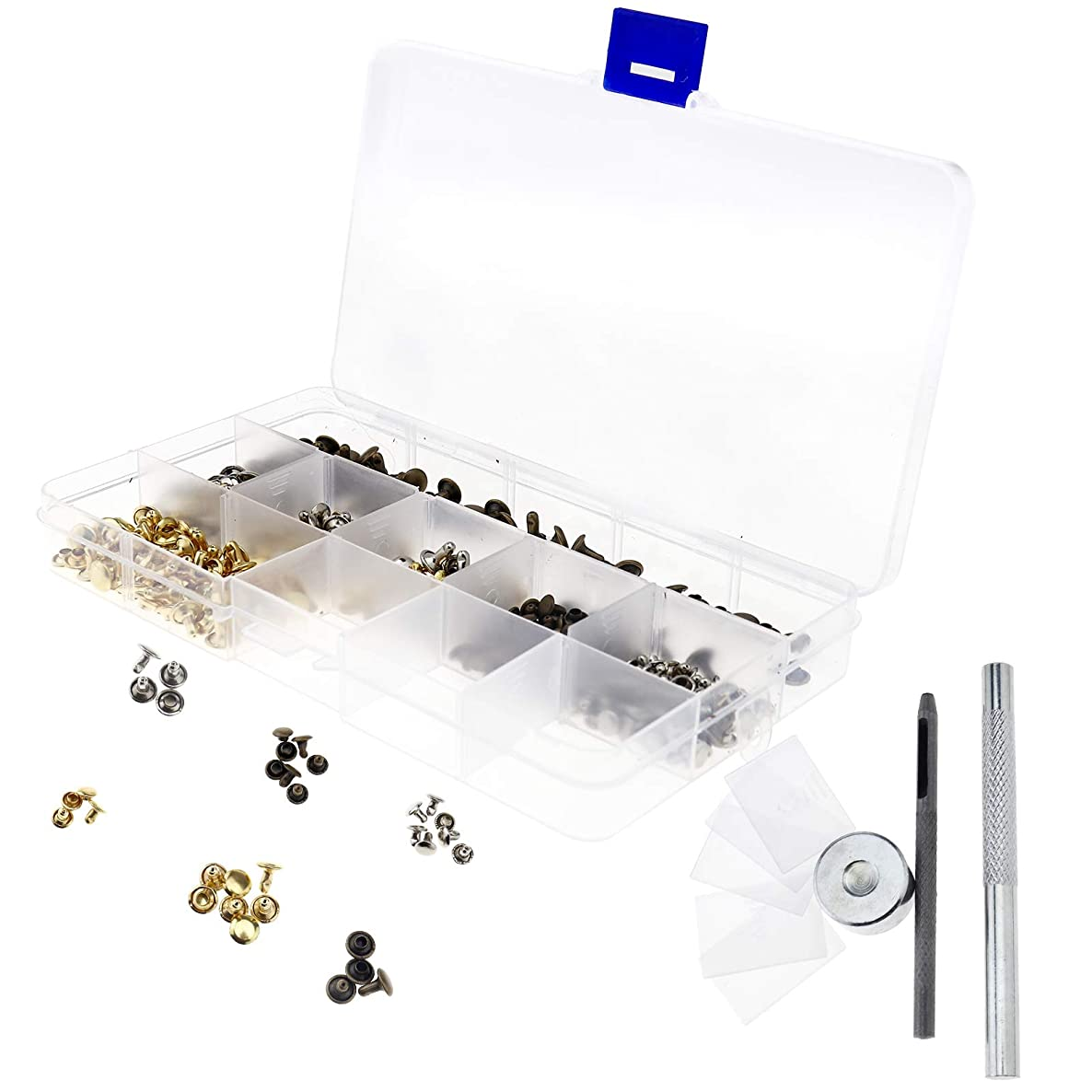 SING F LTD 180pcs/set 2 Sizes 6mm 8mm Double Cap Rivets Bronze Silver Golden Studs for DIY Leather Craft with Storage Box