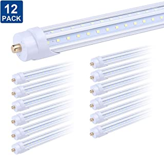 8FT V Shape Chip 270 Degree T8 LED Tube Light,Single Pin FA8 Base LED Shop Light 65W, 65W (150W Equivalent), 6000K, Clear Cover, Dual-Ended Power - (12-Pack)