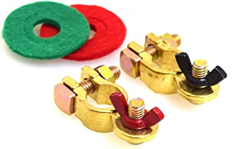 E-KYLIN Pure Copper Battery Terminal Kit with Battery Corrosion Terminal Protectors - Marine Featured Coated Wing Nuts 17mm 200A
