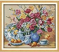 クロスステッチキャンバス初心者刺繍キットフラワーベッド40x50cmDIY刺繍を刻印するためのスターターキット大人と子供のための創造的な贈り物11CT