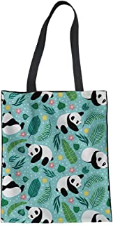FANCOSAN Reusable Linen Tote Bags Digital Print Eco-friendly Shoulder Bags for Travel Outdoor Hiking Canvas Shopping Totes