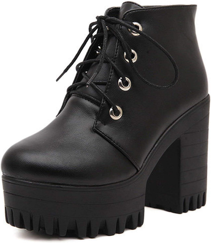 Summer-lavender Autumn Women shoes Black High Heels Boots Lacing Platform Ankle Boots Heel