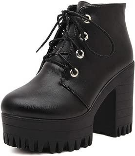 Autumn Women Shoes Black High Heels Boots Lacing Platform Ankle Boots Heel
